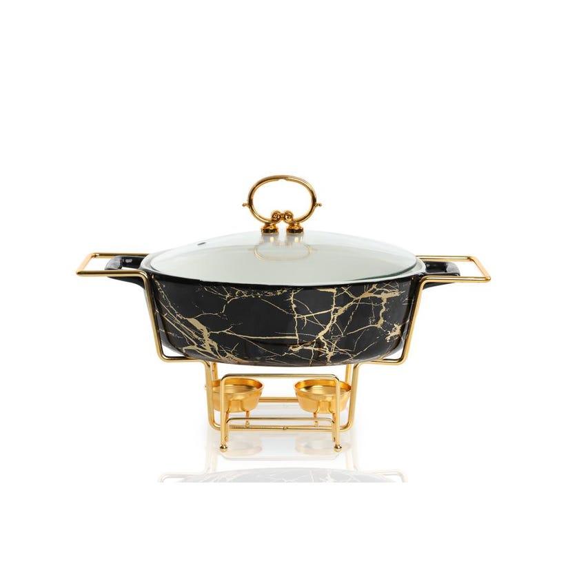 Porcelain Oval Casserole with Warmer - Black, 29.5 cms