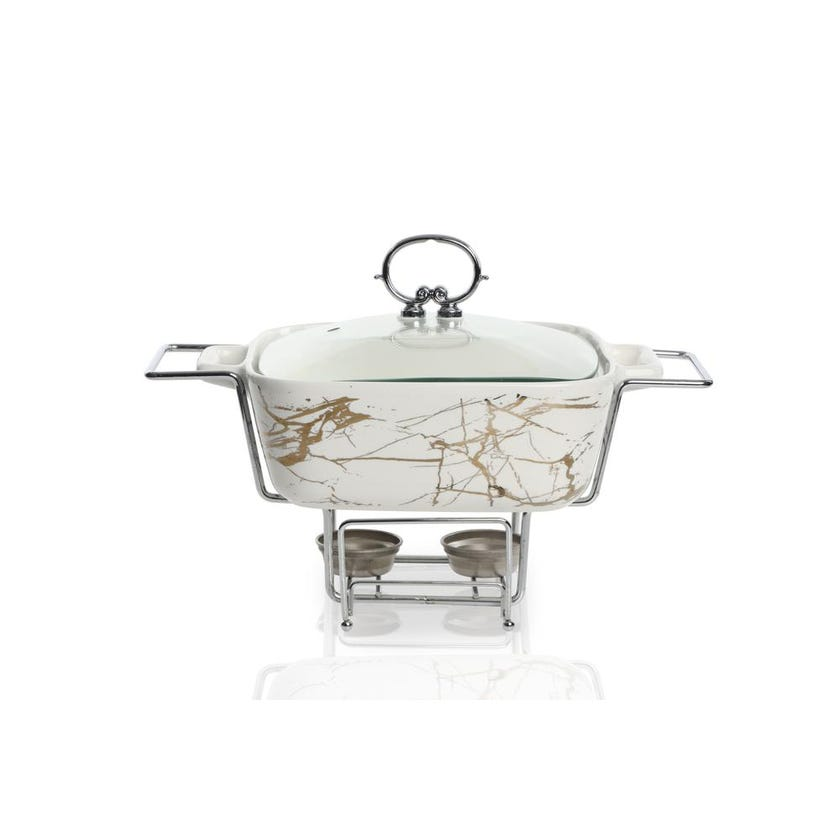 Porcelain Square Casserole with Warmer - White, 28 cms