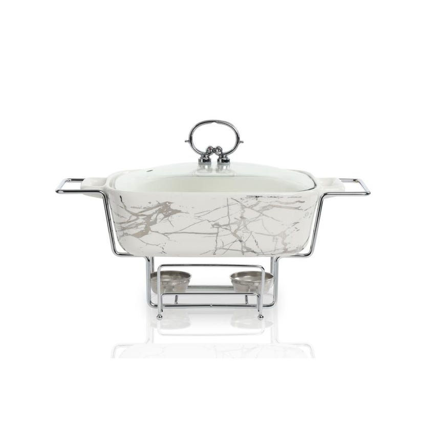 Porcelain Rectangle Casserole with Warmer - White, 30.5 cms