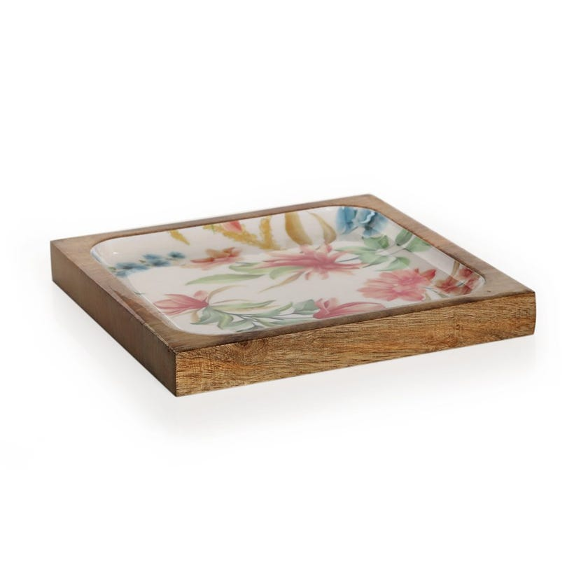 Vida Wood Enamel Serving Platter, Multicolour – Large