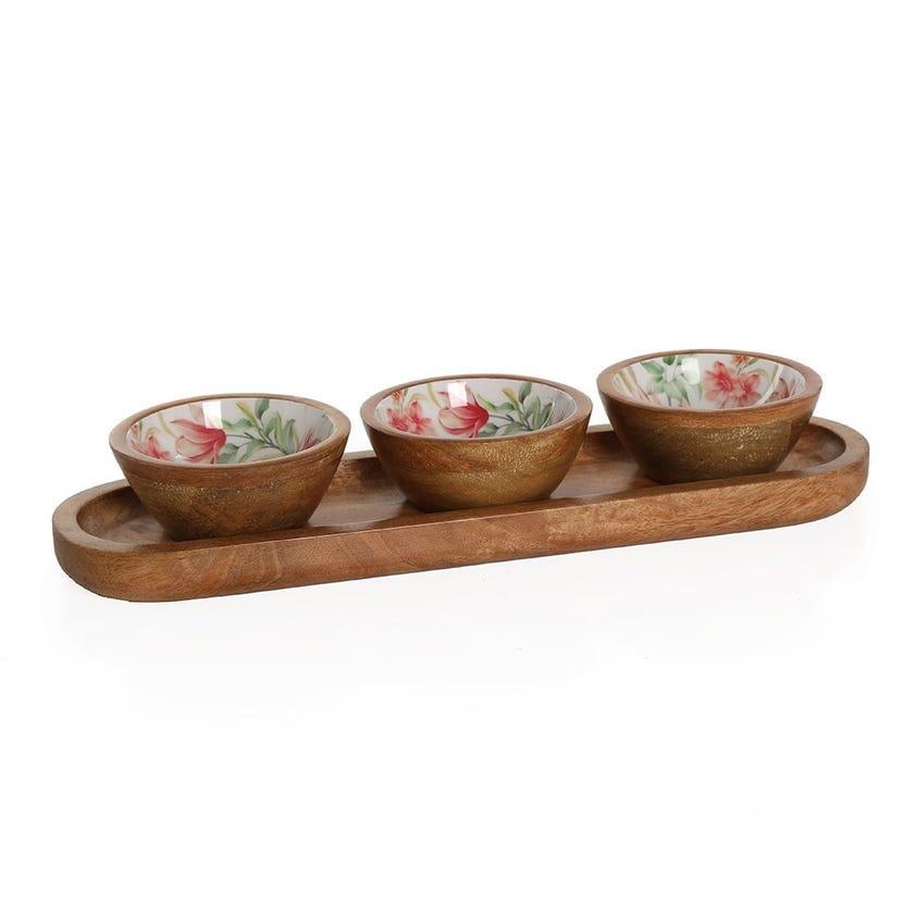 Vida Wood Enamel 3-bowls Server, Multicolour
