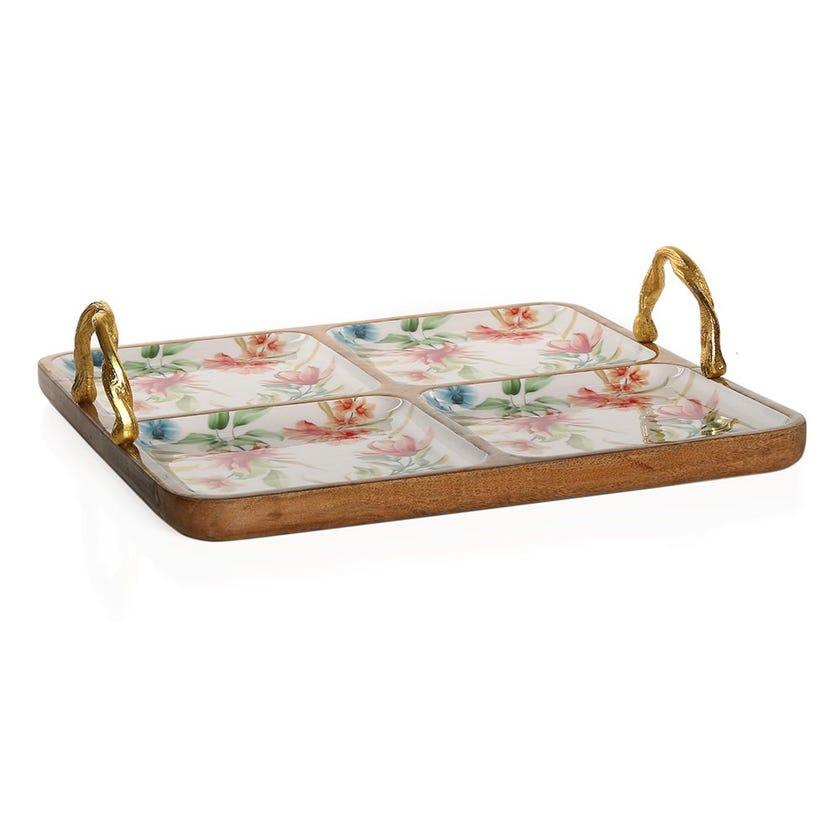 Vida Wood Enamel 4-Sectional Platter with Handles, Multicolour