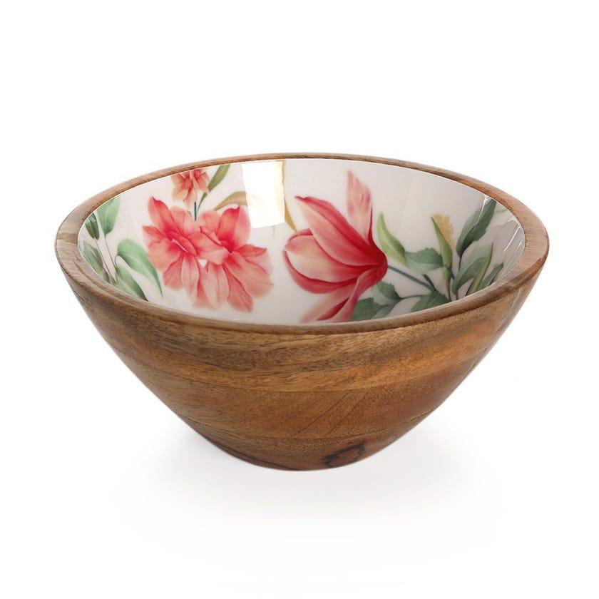 Vida Wood Enamel Round Bowl, Multicolour – 21x9 cms