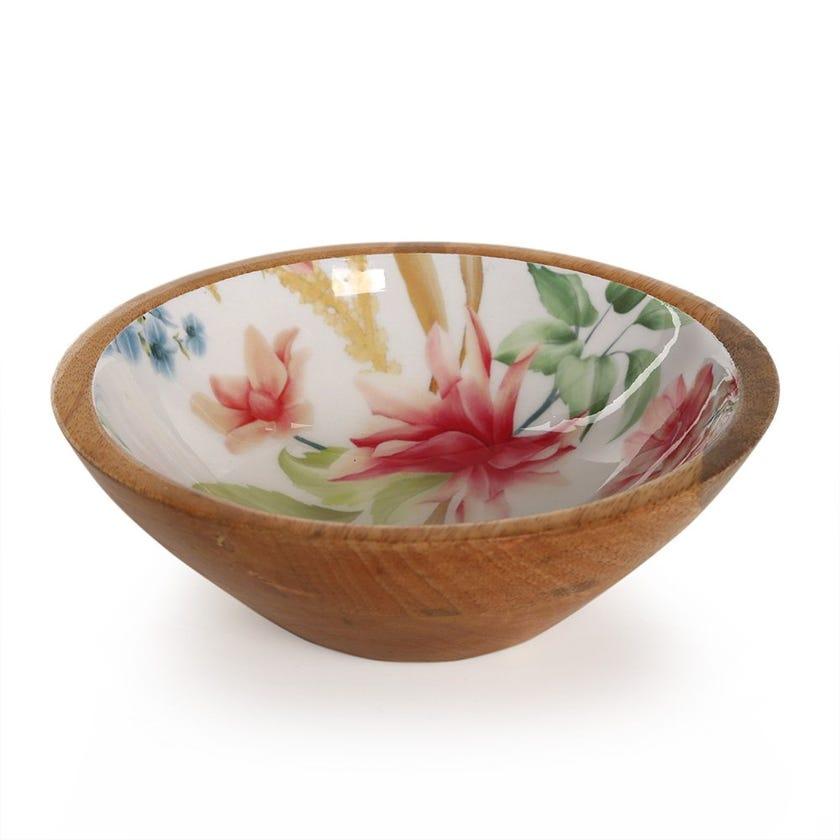Vida Wood Enamel Round Bowl, Multicolour – 18x6.3 cms