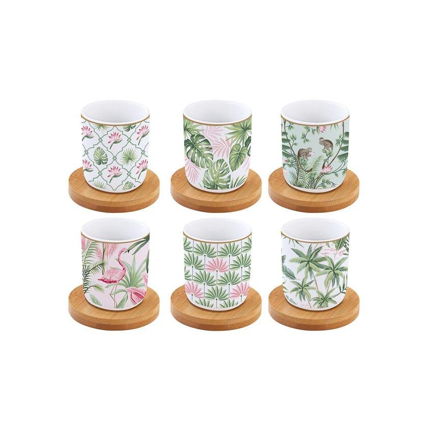 Coffee Mania Wild Tropical Espresso Cups & Bamboo Saucers, Multicolour – Set of 6