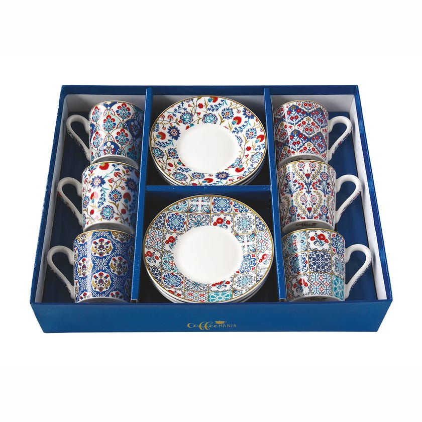 Coffee Mania Iznik Espresso Cups & Saucers, Multicolour – Set of 6