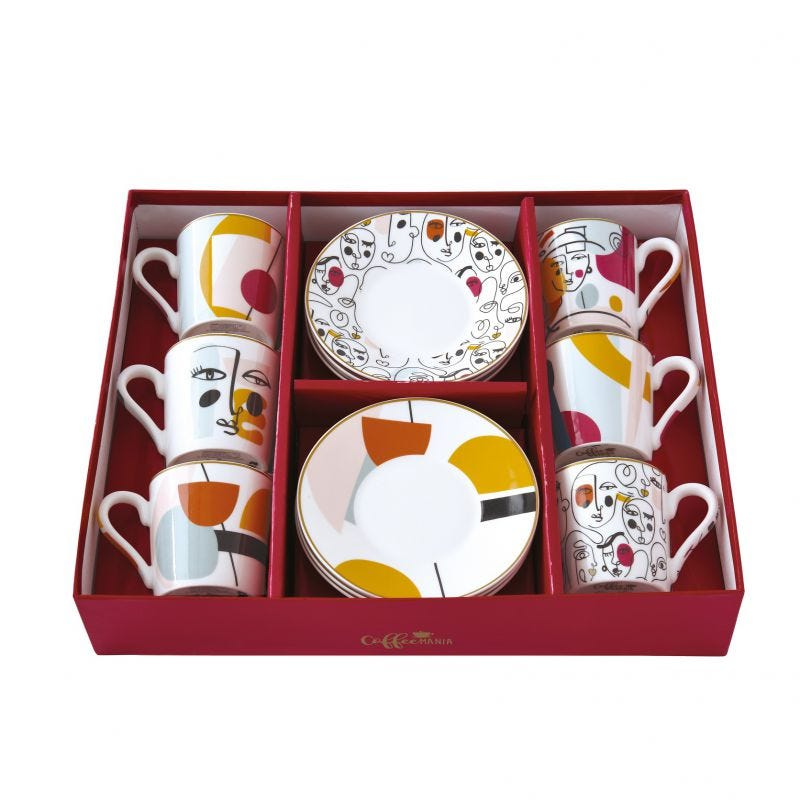 Coffee Mania Modernism Espresso Cups & Saucers, Multicolour – Set of 6