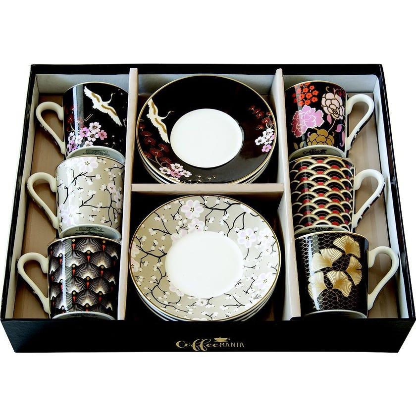 Coffee Mania Oriental Espresso Cups & Saucers, Multicolour – Set of 6