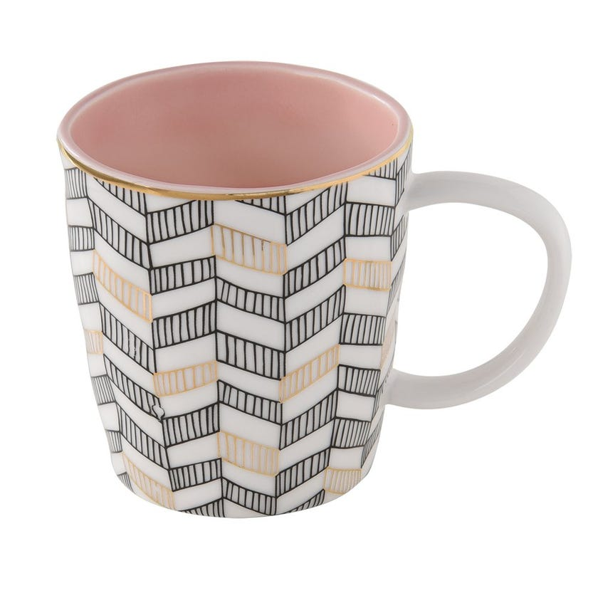 Geo Porcelain Mug, Pink