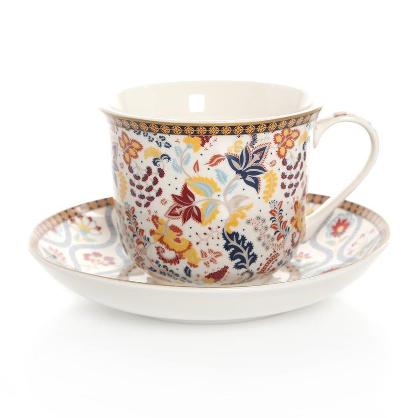 Paisley Cup & Saucer, Multicolour – 400ml