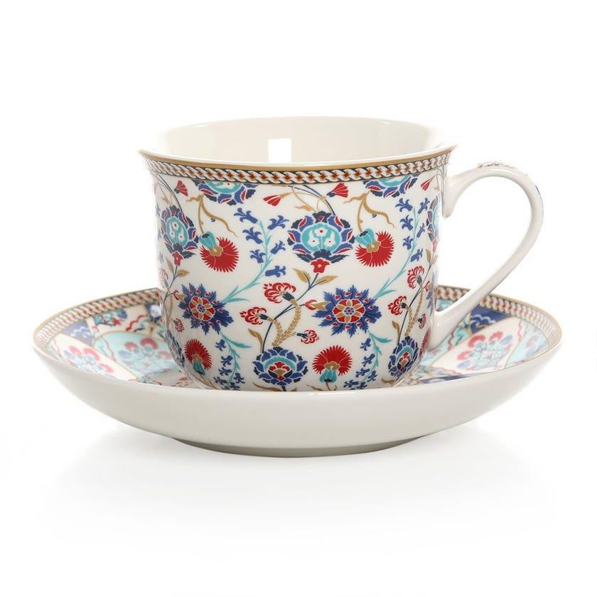 Iznik Porcelain Cup & Saucer, Multicolour – 400ml