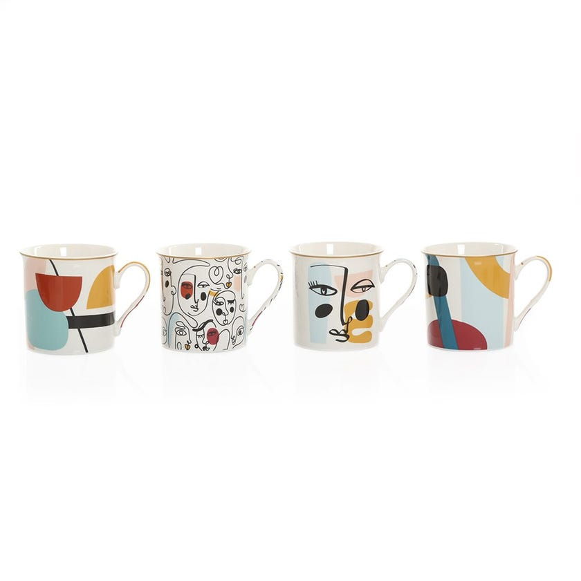 Modernism Gift Mugs, Multicolour – Set of 4, 300ml