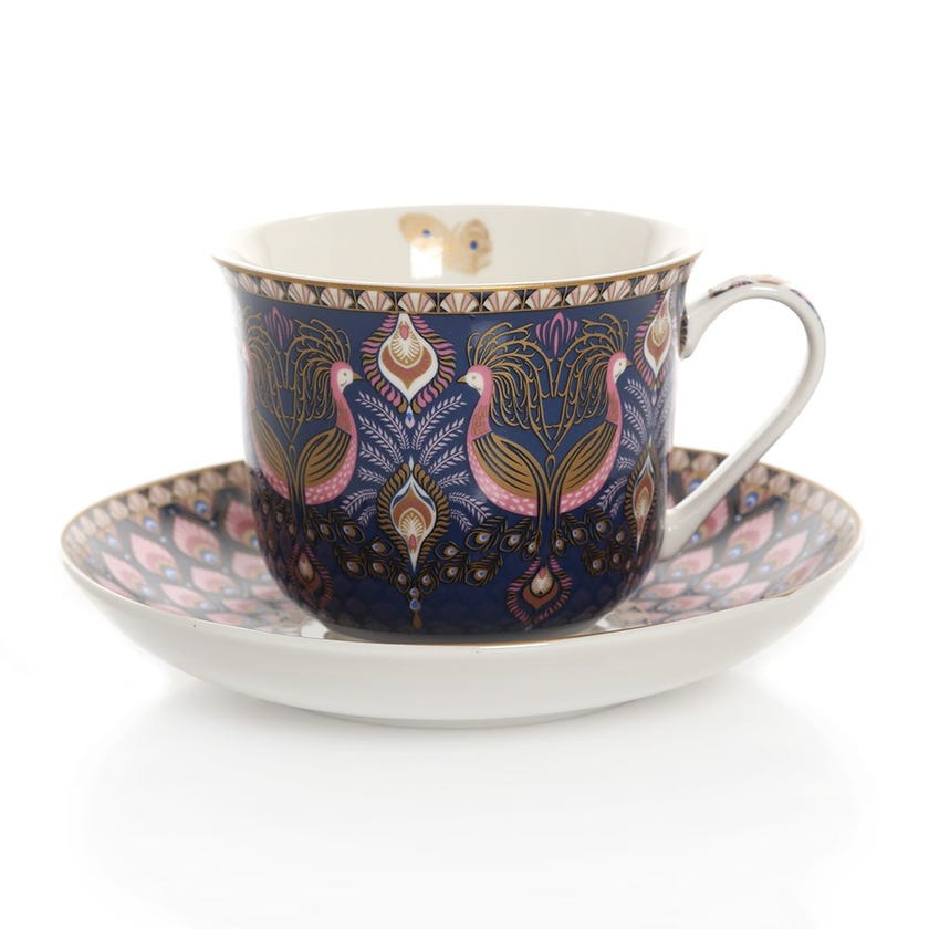 Peacock Atmosphere Cup & Saucer, Multicolour – 400ml