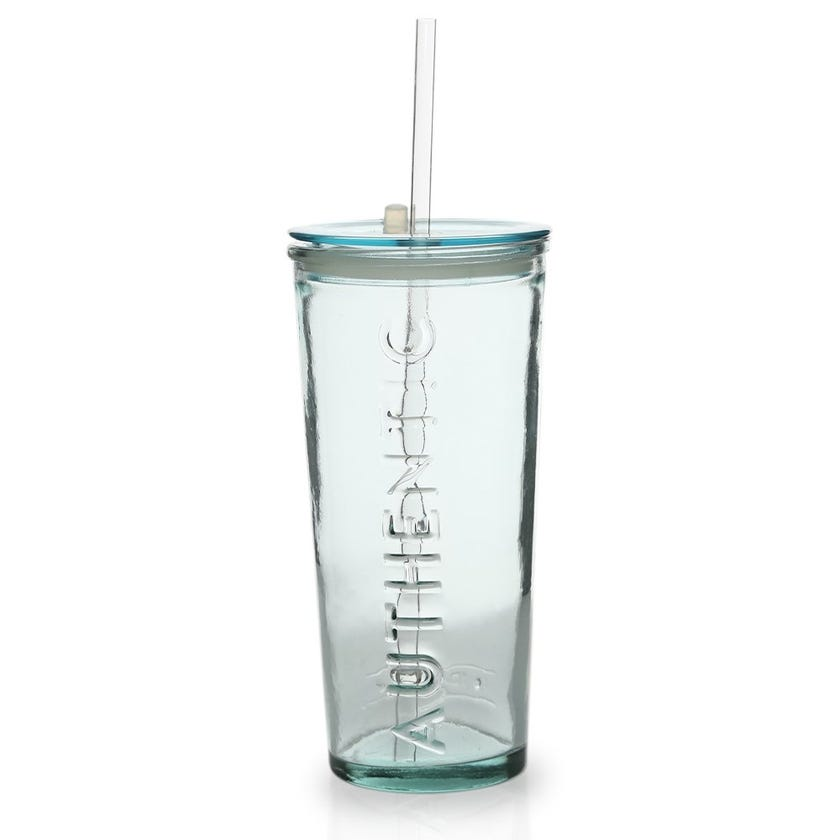 Authentic Glass 500cc with Lid & Straw, Clear