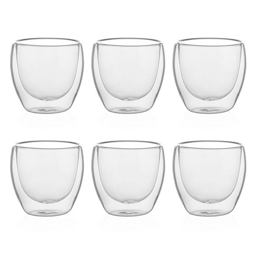 Double Wall Borosilicate Glass, Clear - 80 ml, Set of 6