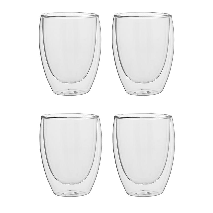 Double Wall Borosilicate Glass, Clear - 350 ml, Set of 4