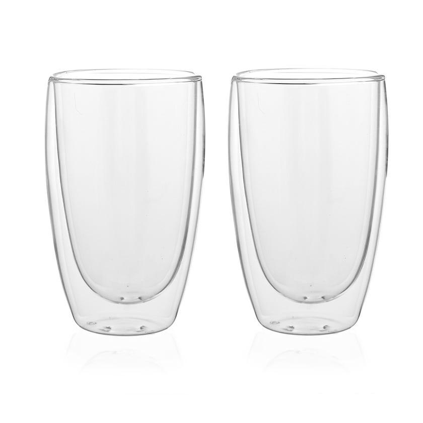 Double Wall Borosilicate Glass, Clear - 450 ml, Set of 2