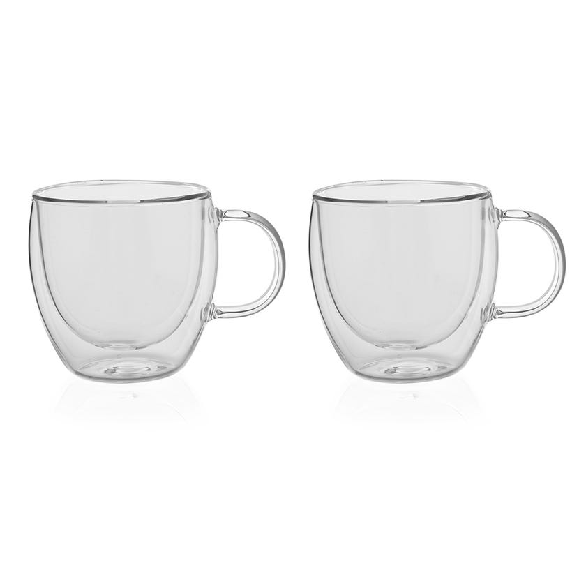 Double Wall Borosilicate Glass Cup, Clear - 150 ml, Set of 2