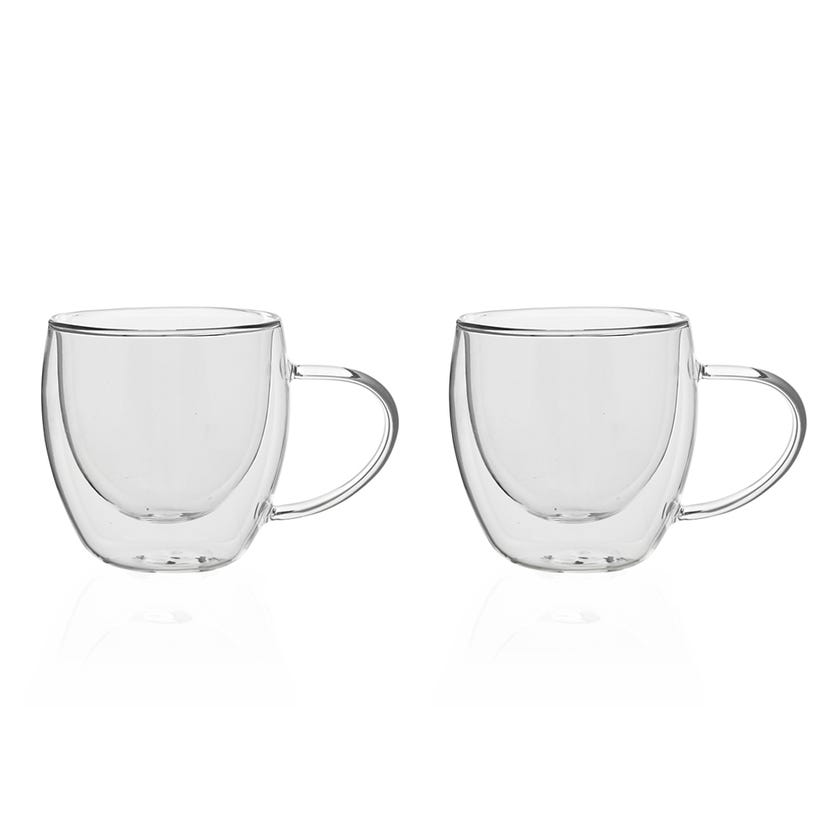 Double Wall Borosilicate Glass Cup, Clear - 250 ml, Set of 2