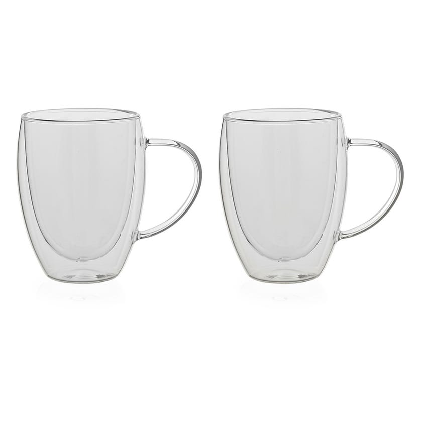 Double Wall Borosilicate Glass Cup, Clear - 350 ml, Set of 2