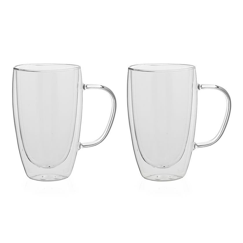 Double Wall Borosilicate Glass Cup, Clear - 450 ml, Set of 2