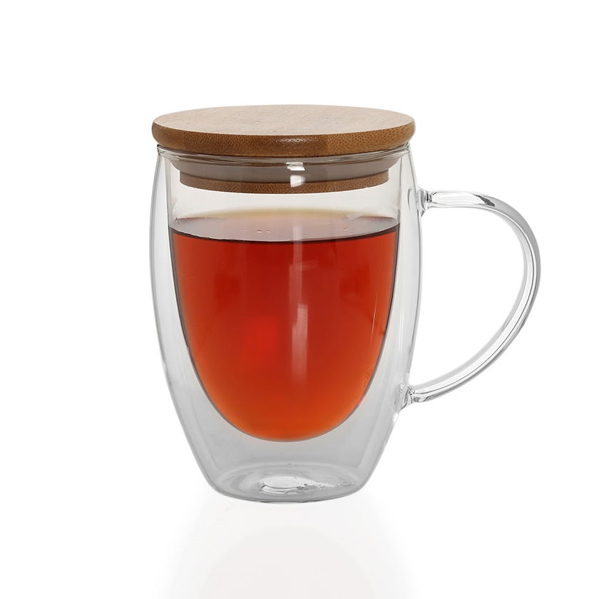 Double Wall Borosilicate Glass Cup with Bamboo Lid, Clear - 350 ml