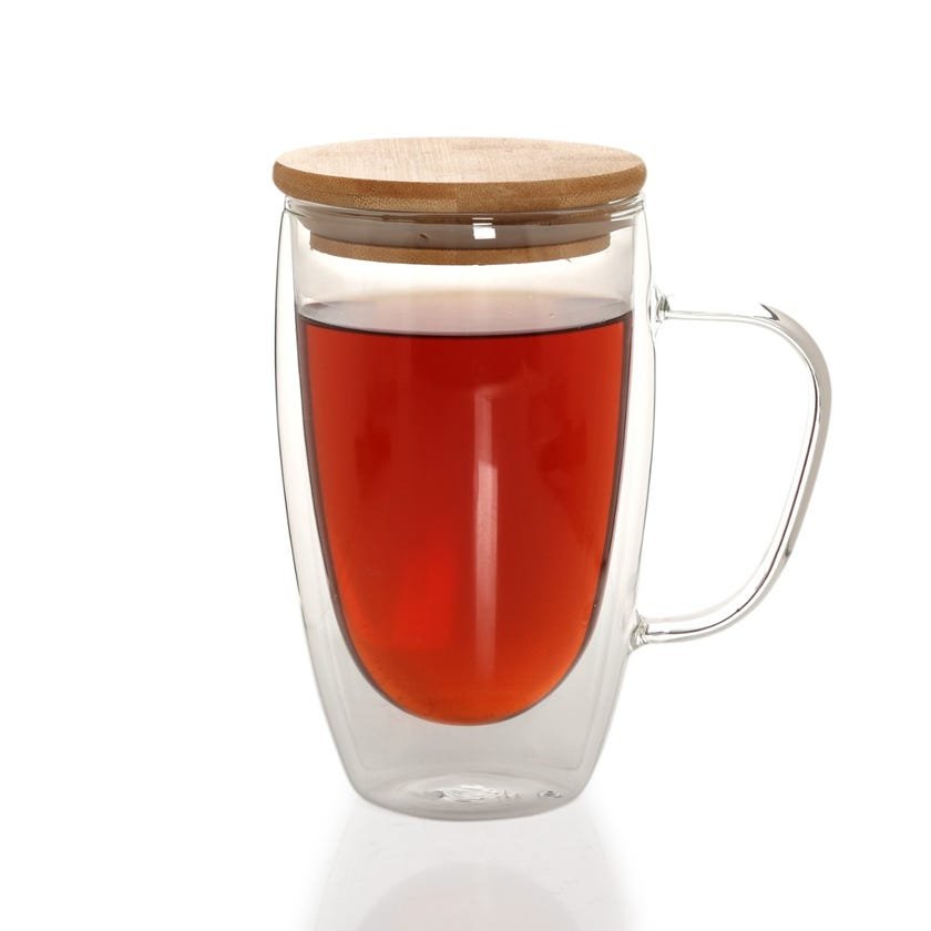 Double Wall Borosilicate Glass Cup with Bamboo Lid, Clear - 450 ml
