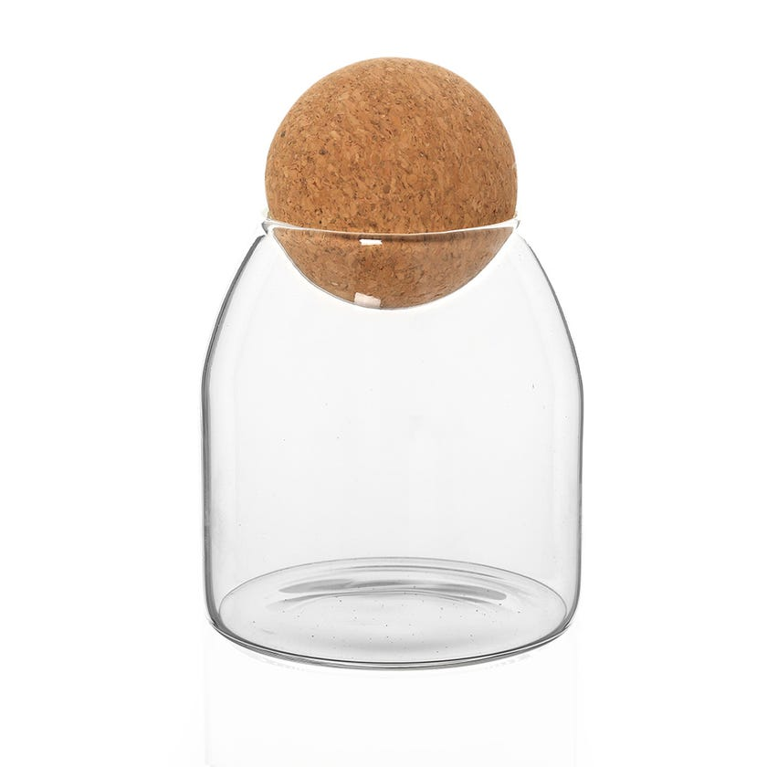 Borosilicate Food Storage Jar with Cork Ball Lid, Clear - 550 ml