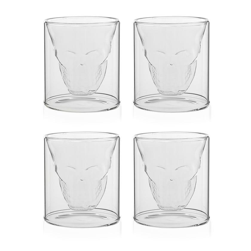 Borosilicate Skull Glass, Clear - 75 ml, Set of 4