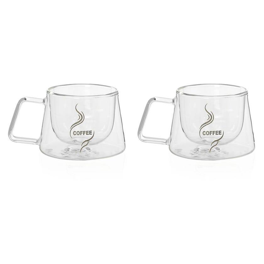 Double Wall Borosilicate Printed Coffee Mug, Clear - 200ml, Set of 2