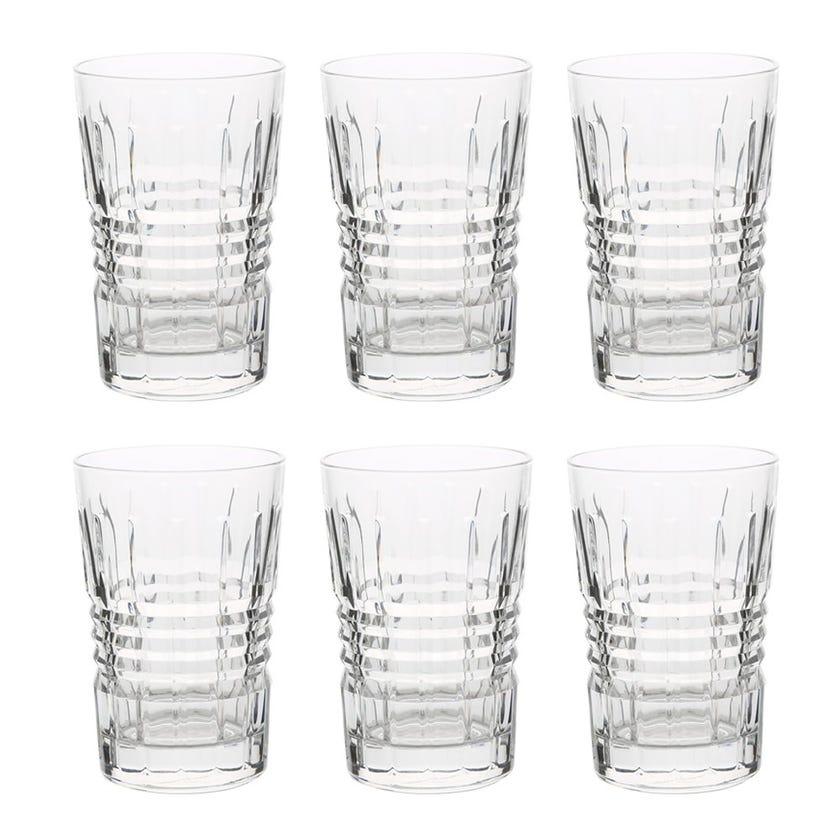 Eclat Rendezvous Glass Tumbler Set - 6 Pieces, Transparent, 11 cms
