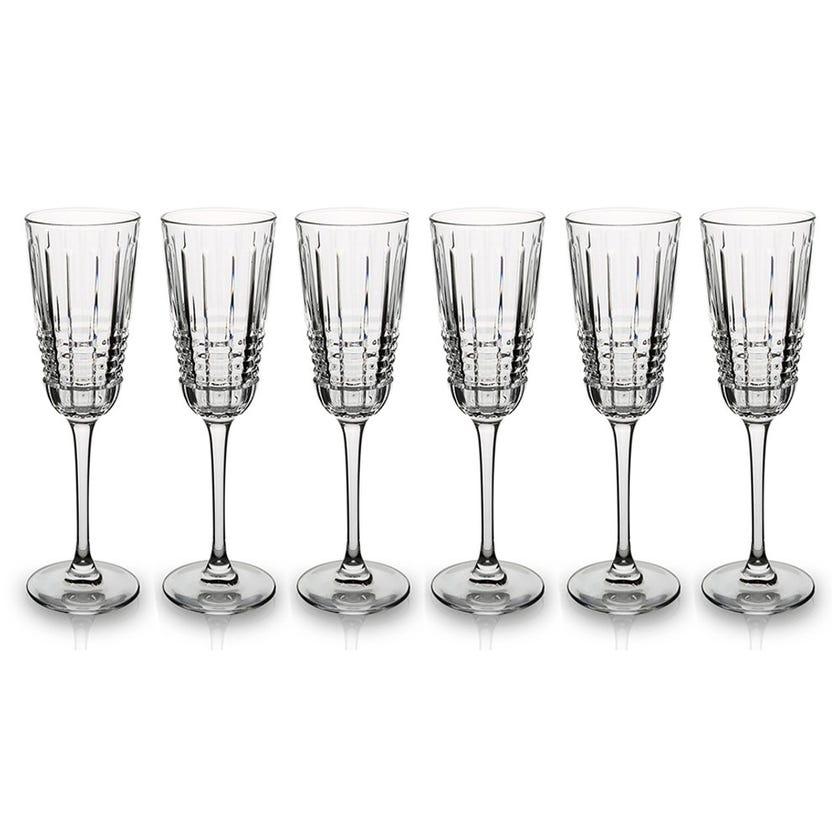 Eclat Rendezvous Flute Glass Set - 6 Pieces, Transparent, 22 cms
