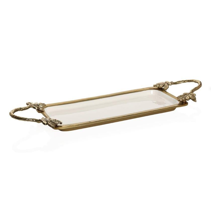 Florence Rectangular Brass Tray, Antique Gold & White Enamel
