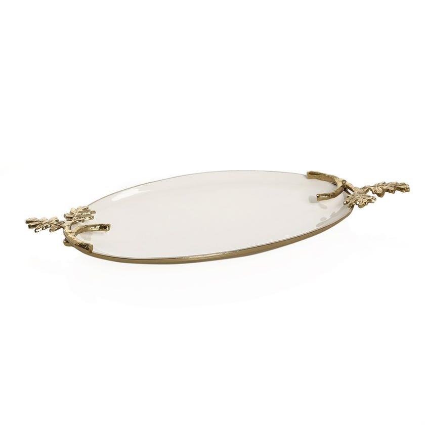 Florence Brass Oval Platter, Antique Gold & White Enamel