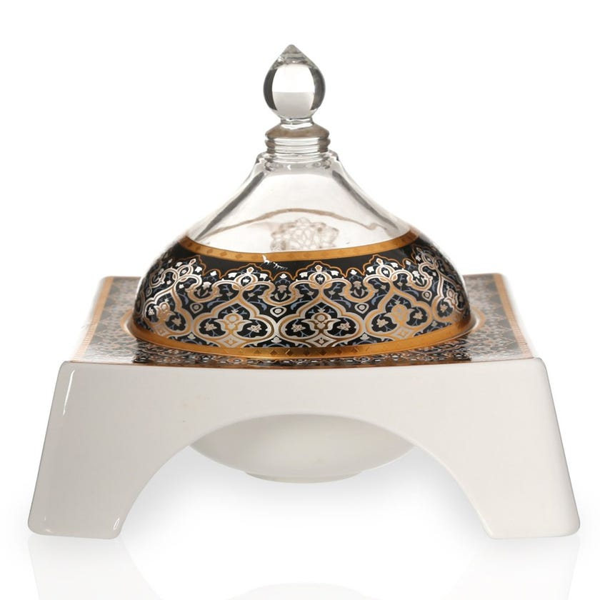 Zurina Bowl with Glass Lid, White