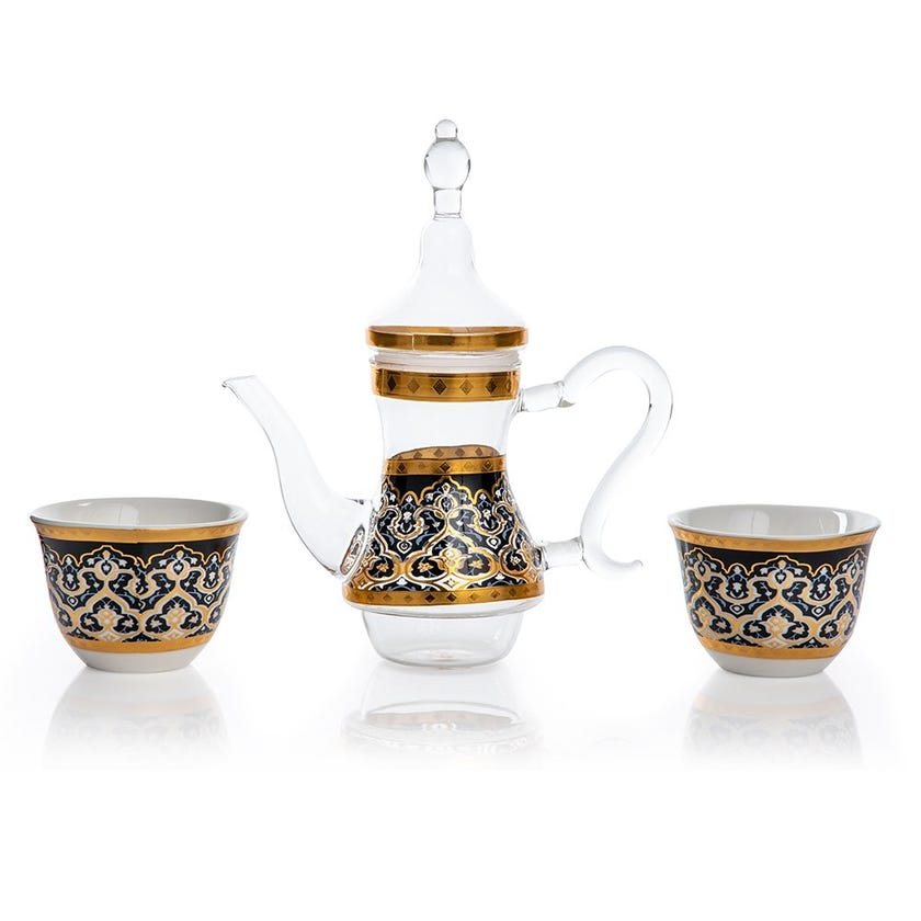 Zurina 2 Porcelain Cawa Cups & Glass Teapot, White