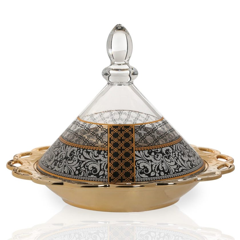 Samia Bowl with Glass Lid, Gold & Clear
