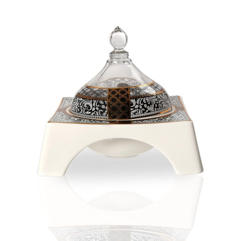 Samia Bowl with Glass Lid, White & Clear