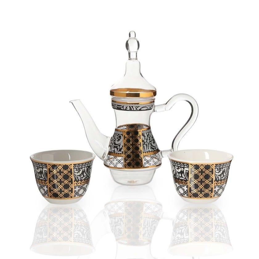 Samia 2 Porcelain Cawa Cups & Glass Teapot, White & Clear
