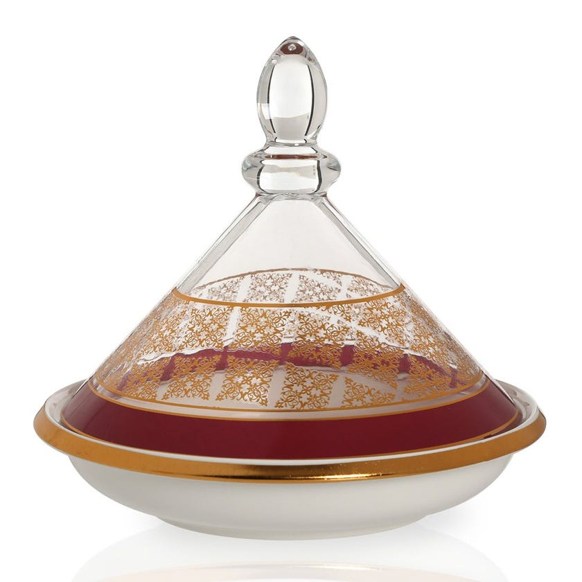 Nayeli Bowl with Glass Lid, White & Clear