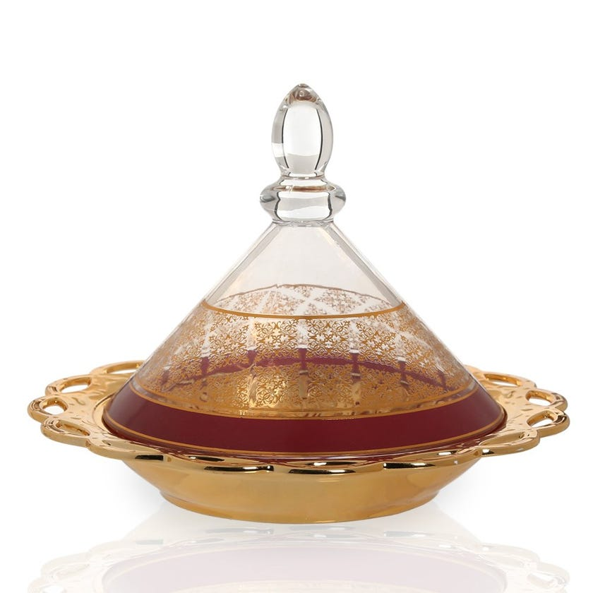 Nayeli Bowl with Glass Lid, Gold & Clear