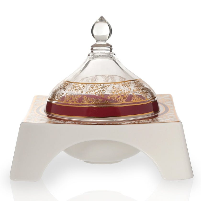 Nayeli Bowl with Glass Cover, White & Clear