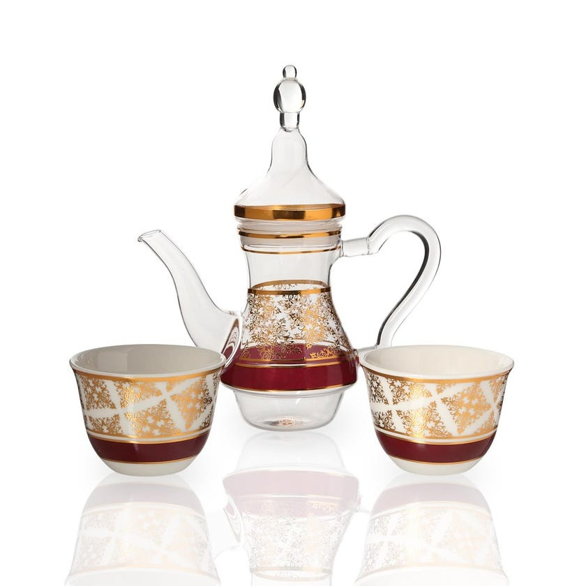 Nayeli 2 Porcelain Cawa Cups & Glass Teapot, White & Clear