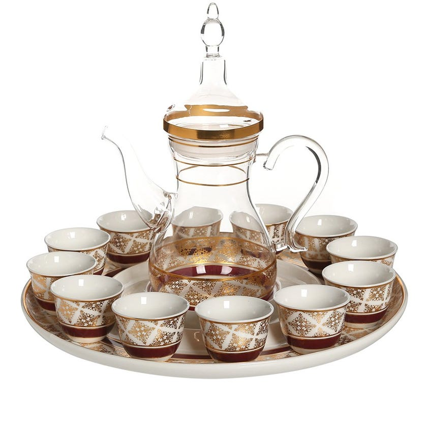 Nayeli 14-Pieces Cawa Cup Set, White & Clear