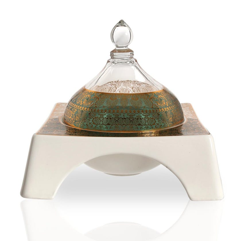 Nimah Bowl with Glass Lid, White & Clear