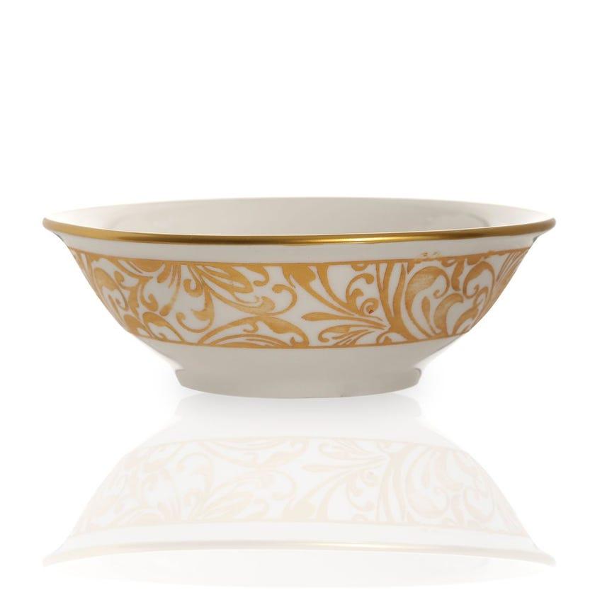 Jarrah Soup Bowl, White & Gold - Small