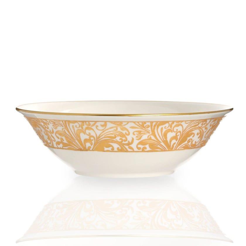 Jarrah Bowl, White & Gold - 20 cms