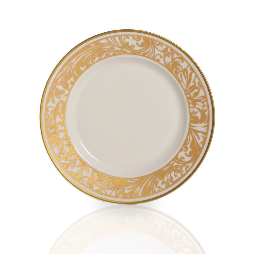 Jarrah Round Plate, White & Gold - Small