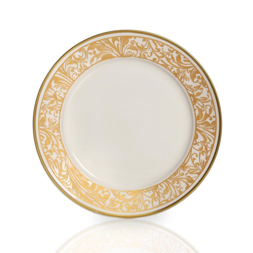 Jarrah Round Plate, White & Gold - Large
