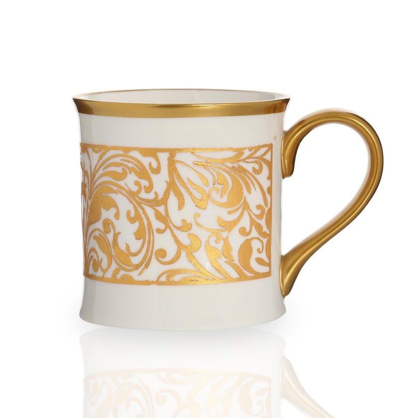 Jarrah Coffee Mug, White & Gold